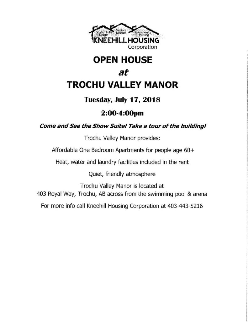 Open House at Trochu Valley Manor