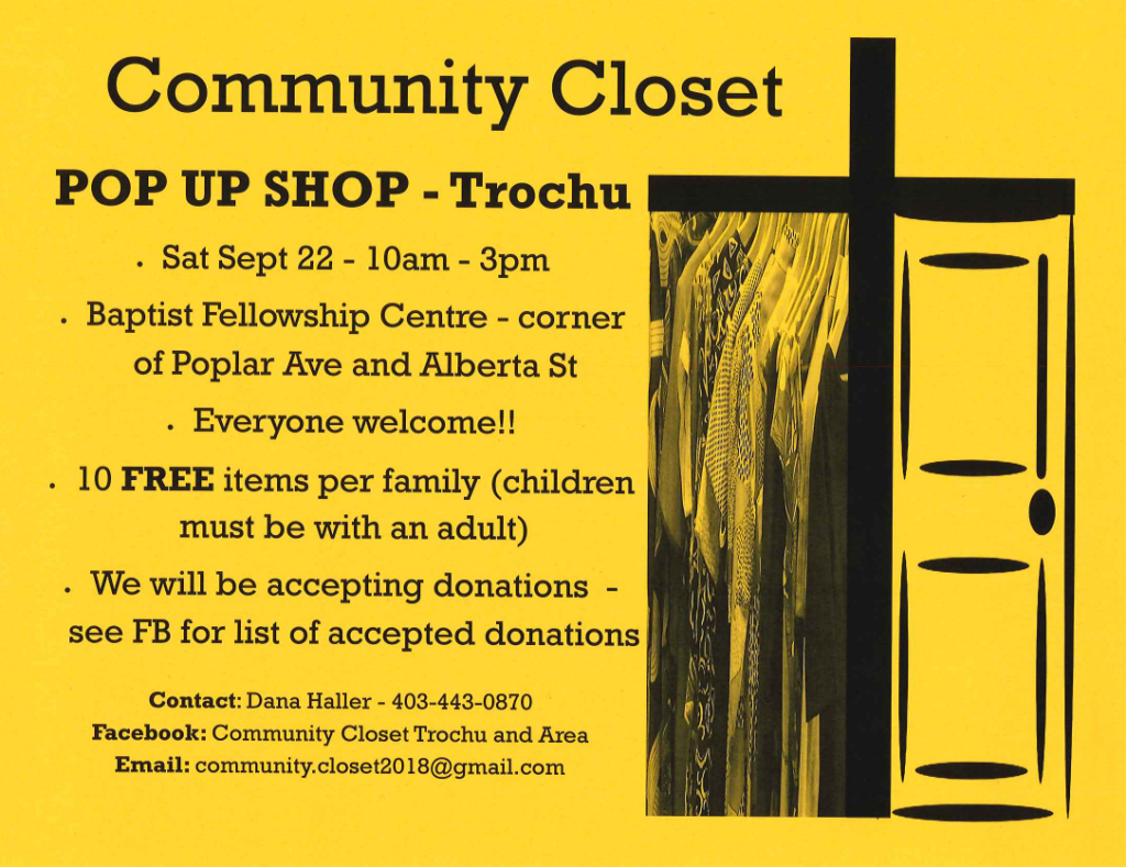 Community Closet Pop-Up Shop @ Trochu Baptist Fellowship Centre