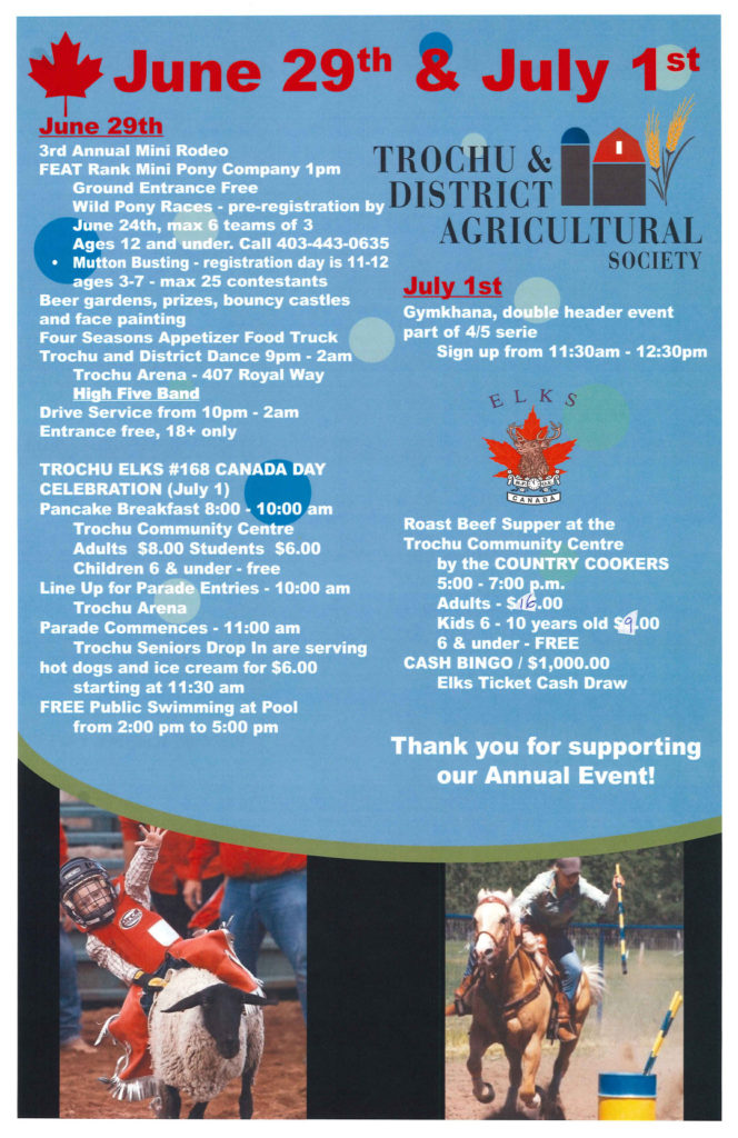 Trochu Elks & Trochu Ag Society Canada Day Celebrations