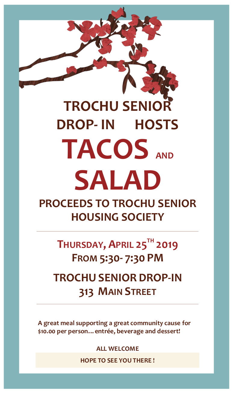 Tacos & Salad at the Trochu Senior Drop-In! @ Trochu Senior Drop-In Centre