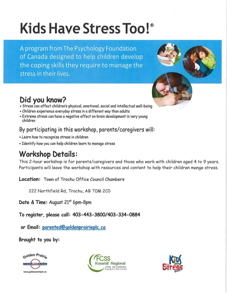 CANCELLED ParentLink Workshop: Kids Have Stress Too! @ Trochu Town Office