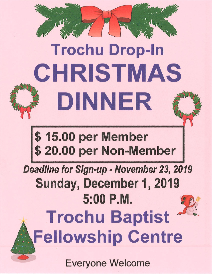 Trochu Drop-In Christmas Dinner @ Trochu Baptist Fellowship Centre