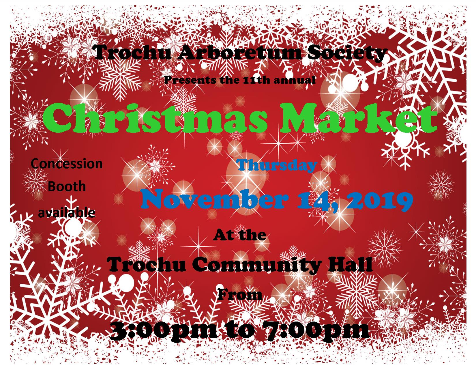 Trochu Arboretum Annual Christmas Market @ Trochu & District Community Centre